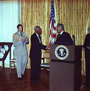 A. Philip Randolph - Randolph Receiving the Presidential Medal of Freedom in 1964 from President Lyndon B. Johnson.