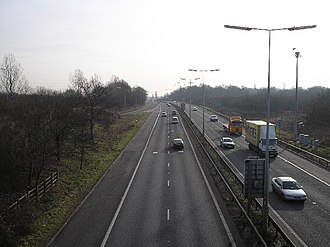 A1 road (Great Britain) - A1(M) looking southwards from junction 2 at Hatfield