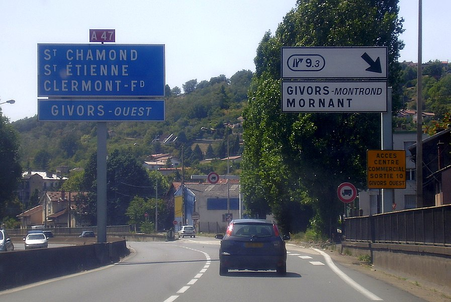 A47 motorway E70, old exit 9.3 near Saint-Étienne