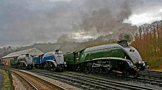 North Yorkshire Moors Railway - Three LNER Class A4 locomotives at Grosmont loco shed.
