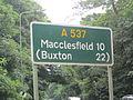 A537 sign on Chelford Road, Knutsford.JPG