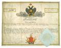 AGAD Patent zaswiadczajacy szlachectwo wystawiony przez marszalka guberni wolynskiej.png