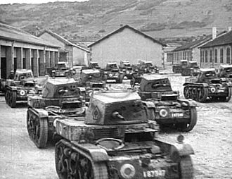 1st Light Mechanized Division (France) - A group of 13.2 mm-armed AMR 35s, belonging to 4e RDP, 1re DLM; the vehicle in front, No. 87347, is the second produced and shows the large rosettes typical of this unit from 1938