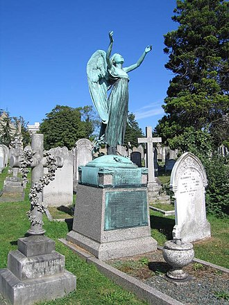 Thames Ditton Foundry - The funerary figure cast by Thames Ditton Foundry on the grave of A.B. Burton and his family in Bonner Hill Cemetery