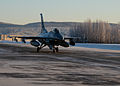 A U.S. Air Force F-16 Fighting Falcon aircraft assigned to the 18th Aggressor Squadron prepares for takeoff from Eielson Air Force Base in Alaska Feb. 10, 2014, en route to Andersen Air Force Base in Guam to 140210-F-FT438-005.jpg