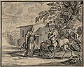 A centaur carrying a young child towards a female figure wit Wellcome V0049534.jpg