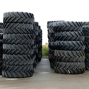 tractor tires have substantial ribs and voids for traction in soft terrain