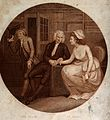 A young male physician taking the pulse of a female patient Wellcome V0016066.jpg