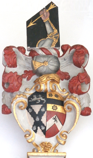 Aaron Baker - Arms of Aaron Baker (1620–1683), detail from his mural monument in Dunchideock Church: Argent, on a saltire engrailed sable five escallops of the first on a chief of the second a lion passant of the first (Baker, of which the arms of the Baker Baronets (1796) of Dunstable House, Richmond, Surrey, are a difference); impaling the arms of his two wives, with crest of Baker above