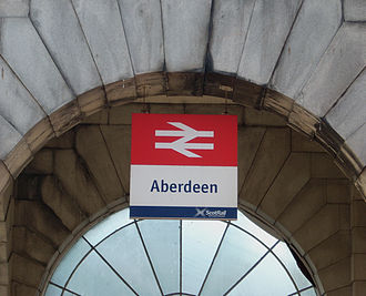 Aberdeen railway station - Signage at Aberdeen station in May 2012, showing National Rail double-arrow logo