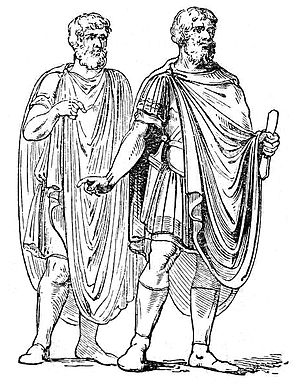 Abolla - Two men wearing abollas, as seen on the bas-reliefs on the triumphal arch of Septimius Severus at Rome.