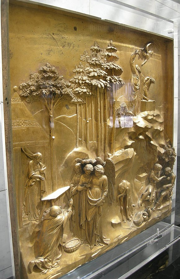 Side view of Lorenzo Ghiberti's cast gilt-bronze Gates of Paradise at the Florence Baptistery in Florence, Italy, combining high-relief main figures with backgrounds mostly in low relief Abraham (Gates of Paradise) 01.JPG