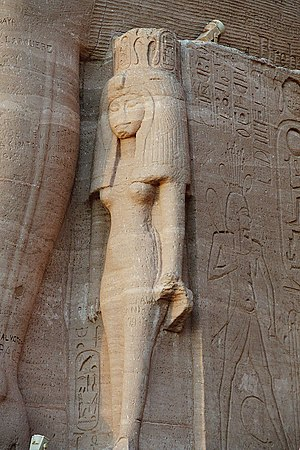 Nefertari - Nefertari beside a colossus of Ramesses II