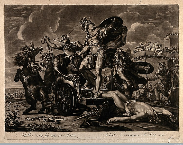 File:Achilles dragging the body of Hector around Troy. Mezzotint after G. Hamilton, 1794 V0036090.jpg