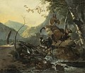Adam Pijnacker - Italianate Landscape with a Donkey and a Rearing Horse Crossing a Collapsing Bridge 021N08759 5VW3M.jpg