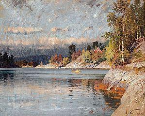Paysage de fjord avec barque