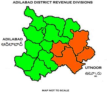 Adilabad District Revenue divisions map