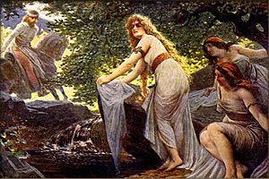 Božena (Křesinová) - Oldřich first meets Božena, painting by Adolf Liebscher (1857-1919)