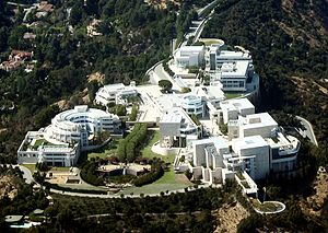 An aerial view of the Getty Museum in Los Ange...