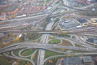 Tingstadstunneln - Traffic junctions south of the tunnel