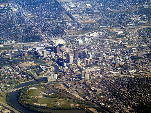 Downtown, 2015 Aerial view of Columbus, Ohio, September 2015.JPG