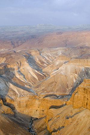 תצלום אווירי של מדבר יהודה, סמוך למצדה