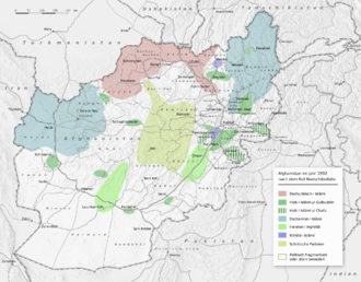 Afghan Civil War (1992–96) - Map showing political control in Afghanistan in 1992, following the collapse of the Najibullah government.