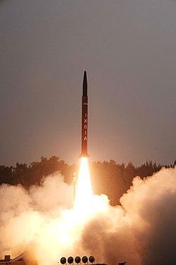 Agni-I missile launched on 1 December 2011.jpg