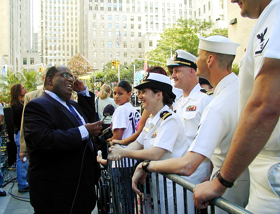Al Roker chats with USNavy sailors in New York City
