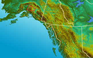 Talkeetna Mountains (rot umrandet)