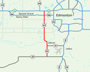 Alberta Highway 60 - Image: Alberta Highway 60 Map
