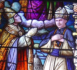 Stephen Alencastre - Pope Pius XI invokes the blessing of Saint Joseph, on Alencastre, in a window in the Cathedral of Our Lady of Peace, Honolulu.