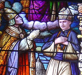 Diocese - Stained glass window of the cathedral of Honolulu depicting Pope Pius XI (left) blessing Bishop Stephen Alencastre as fifth Apostolic Vicar of the Hawaiian Islands