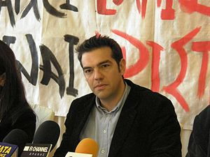 Alexis Tsipras in a press conference in Komotini.