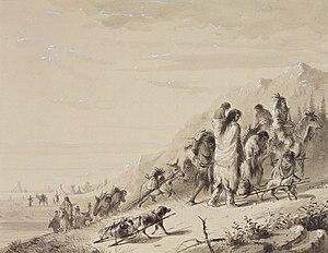 Pawnee people - Pawnee Indians migrating, by Alfred Jacob Miller