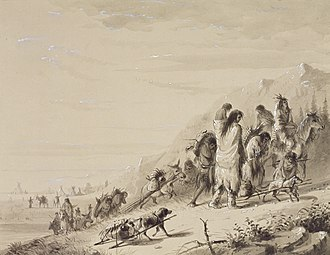 Pawnee people - Pawnee Indians migrating, by Alfred Jacob Miller