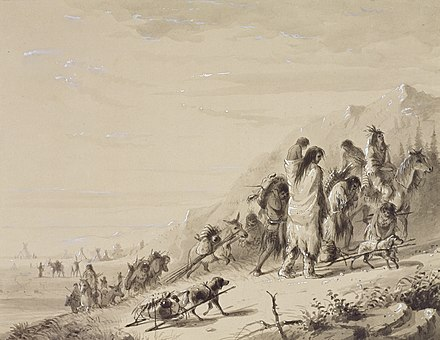 Pawnee Indians migrating, by Alfred Jacob Miller Alfred Jacob Miller - Pawnee Indians Migrating - Walters 37194066.jpg