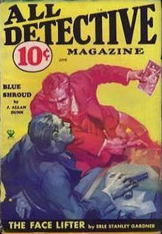 """J. Allan Dunn - Dunn's """"Blue Shroud"""" was the cover story for the June 1934 issue of All Detective"""