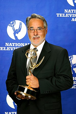 Marc Bryan-Brown - Photograph by Marc Bryan-Brown of Allen Morris accepting an Emmy Award on 23 October 2003.