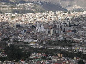 Ambato, Ecuador - Panorama view of downtown La Merced and Inbayo area