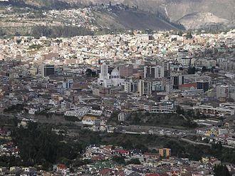 Ambato, Ecuador - Panorama view of downtown La Merced and Inbayo area