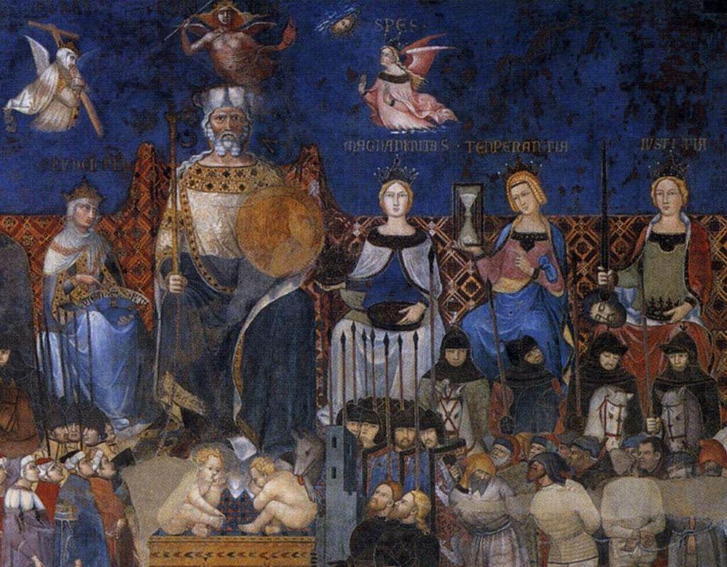 Ambrogio Lorenzetti,Allegoria del Buon Governo(Allegorie van Goed Bestuur) (1338-1339), Sala dei Nove, Palazzo Pubblico, Siena