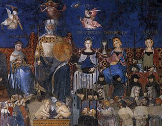 The Allegory of Good and Bad Government - Detail of Allegory of Good Government