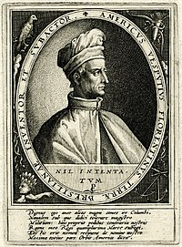 Engraving of Vespucci with inscription
