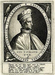 Gravure du buste d'un homme dont le liseret indique: «Americus Vesputius florentinus terra bresilianae inventor et subactor».