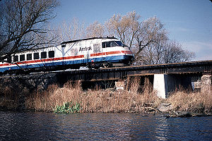 An RTL Turboliner crosses the Seneca River near Savannah, New York in 1984