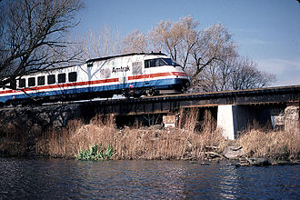 Turboliner - An RTL Turboliner crosses the Seneca River near Savannah, New York, in 1984