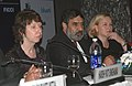 Anand Sharma, the EU Trade Commissioner, Ms. Baroness Catherine Ashton and the Minister for Trade, Sweden, Dr. Eva Bjorling, at a Joint Press Conference, in New Delhi on November 06, 2009.jpg