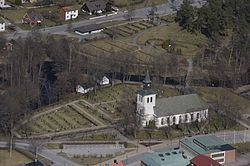 April 2009 aerial photograph of Anderstorp Church.