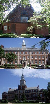 Andrew Rankin Chapel, Douglass Hall, and Founders Library at Howard University.jpg